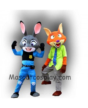 High Quality Realistic New Zootopia Nick Wilde and Judy Hopps Mascot Costume Zootopia Mascot Cartoon Film Role Clothing