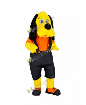 High Quality Adult Ori Dog Yellow Dog in Black Overalls Mascot Costume