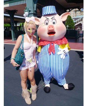 High Quality Adult Pig in Stripe Suit Mascot Costume Halloween Outfit