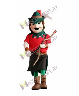 High Quality Adult Robin Hood Mascot Costume in Green Hat