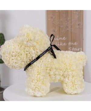 Beige Rose Puppy Dog Flower Puppy Dog Best Gift for Mother's Day, Valentine's Day, Anniversary, Weddings and Birthday