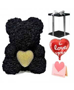 Black Rose Teddy Bear Flower Bear with Pearl Heart Best Gift for Mother's Day, Valentine's Day, Anniversary, Weddings and Birthday