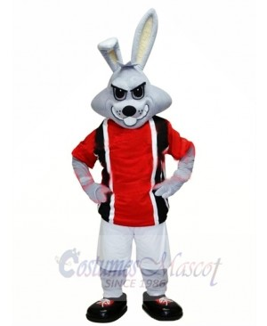 Sporty Gray Rabbit Mascot Costume