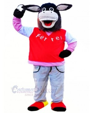 Black Donkey with Long Ears Mascot Costumes Animal