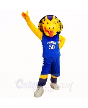 Sports Cobra Snake with Blue Shirt Mascot Costumes Cartoon