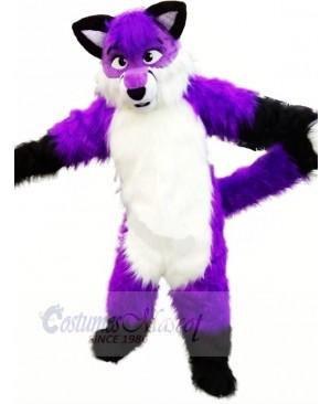Purple Wolf Husky Mascot Costumes Cartoon