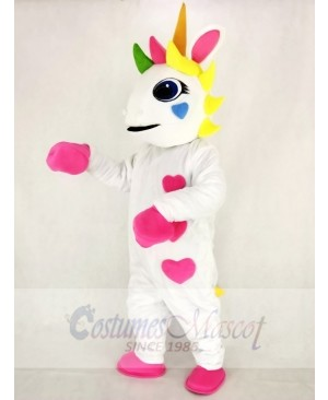 Realistic White Unicorn with Hearts and Colorful Horn Mascot Costume Cartoon
