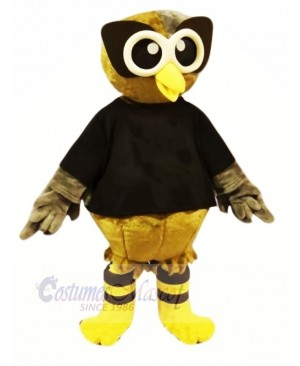 Brown Owl with Black T-shirt Mascot Costumes Cartoon