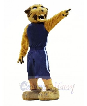 Sport Wildcat with Blue Suit Mascot Costumes Animal