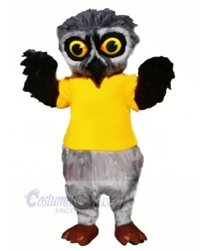 Grey Furry Owl with Yellow T-shirt Mascot Costumes