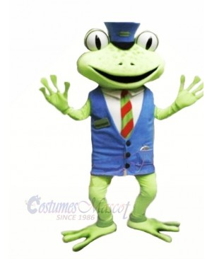 Frog with Blue Vest Mascot Costumes