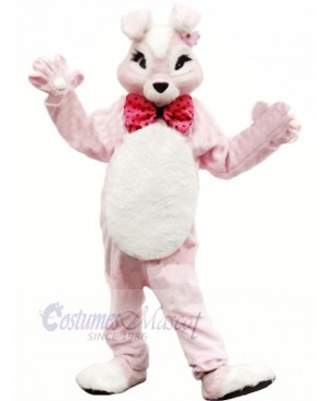 Pink Bunny Rabbit with Bowknot Mascot Costumes Animal
