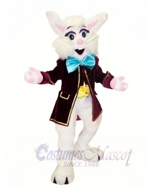 White Bunny with Blue Bowknot Mascot Costumes Animal