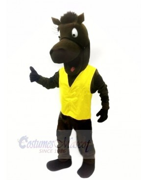 Black Horse with Yellow Vest Mascot Costumes