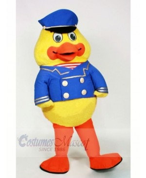 Papa Duck with Blue Hat Mascot Costumes Cartoon