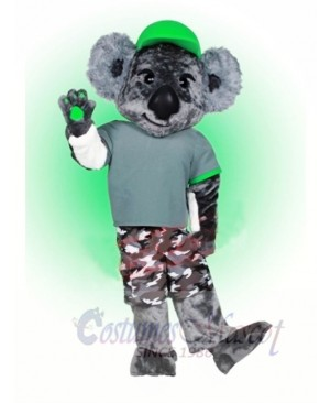 Koala with Green Hat Mascot Costumes Animal