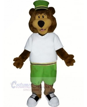 Brown Bear with Green Hat Mascot Costumes Cartoon