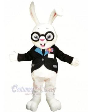 White Rabbit with Glasses Mascot Costumes Animal