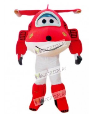 Red Jet Airplane Jett Cartoon Super Wings Plane Mascot Costume