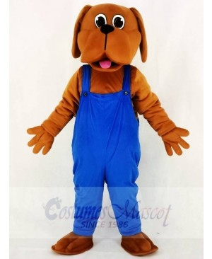 Brown Bloodhound Dog with Blue Overalls Mascot Costume School