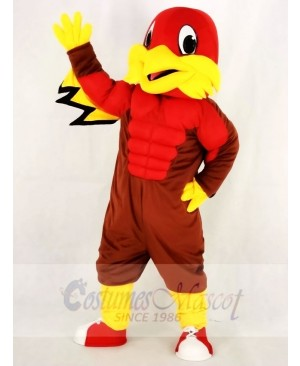 Cute Red Eagle with Blue Eyes Mascot Costume School