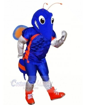 Blue Hornet with Big Eyes Mascot Costumes Cartoon