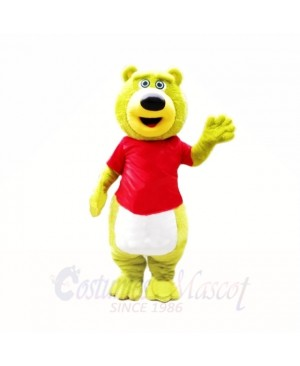 Green Teddy Bear with Red Shirt Mascot Costumes School