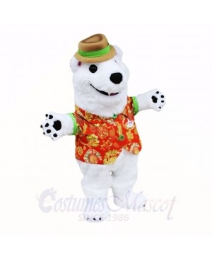White Friendly Lightweight Polar Bear Mascot Costumes Cartoon