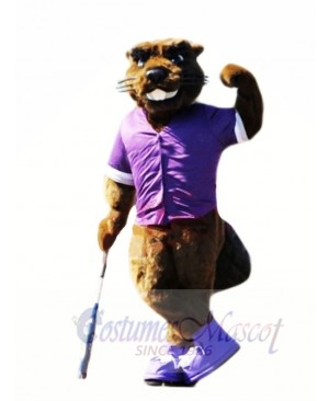Beaver with Purple T-shirt Mascot Costumes Animal