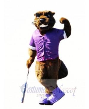 Beaver with Purple T-shirt Mascot Costumes Animal