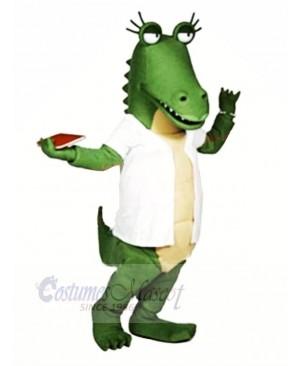 Funny Gator with White T-shirt Mascot Costumes Cartoon