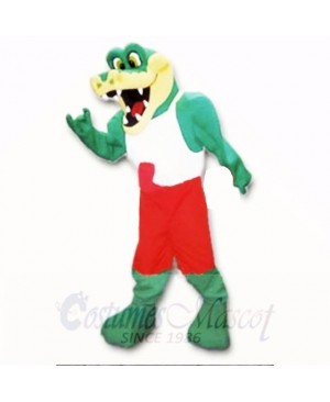 Friendly Lightweight Gator with Red and White Shirt Mascot Costumes School