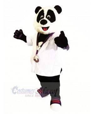Doctor Panda with White Shirt Mascot Costumes Animal