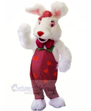 White Rabbit with Red Nose Mascot Costumes Animal