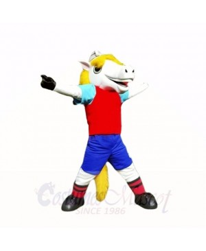 Smiling Sport White Horse Mascot Costumes Cartoon