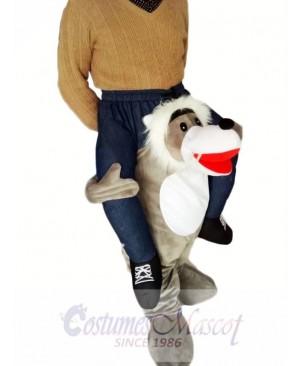 Piggyback Wolf Carry Me Ride Grey Wolf Mascot Costume