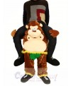 Piggyback Monkey Carry Me Ride Brown Monkey with Green Leaves Mascot Costume