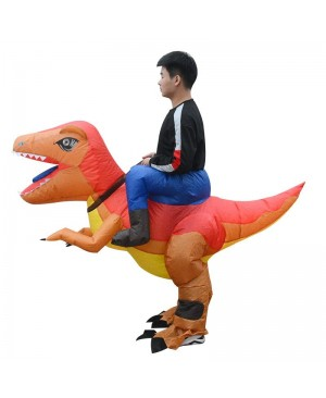 Orange and Yellow Velociraptor Dinosaur Carry me Ride on Inflatable Costume for Adult