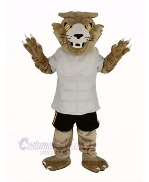 Fierce Wildcat in White T-shirt Mascot Costume