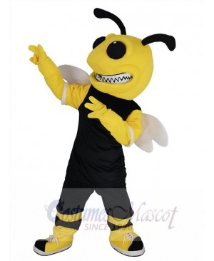 Bumblebee in Black Jersey Bee Mascot Costume Animal