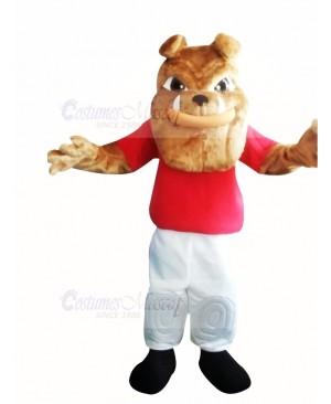 Bulldog with Red T-shirt Mascot Costume Cartoon