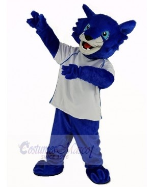Blue Bobcats with White Shirt Mascot Costume Animal