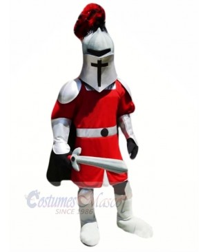 Knight with Red and Silver Coat Mascot Costume