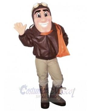 Plane Pilot in Warm Jacket Mascot Costume People