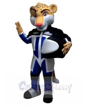 Pilot Leopard with Flying Helmet Mascot Costume Animal