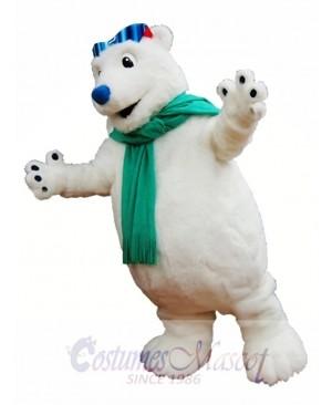 Polar Bear Mascot Costume White Bear with Scarf Mascot Costumes Animal