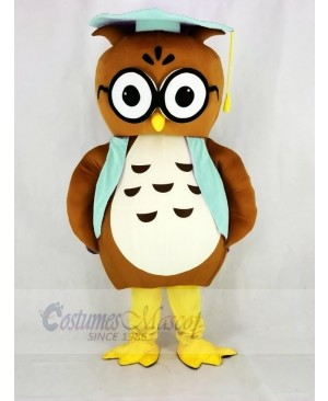 Brown Owl with Blue Vest Mascot Costume College