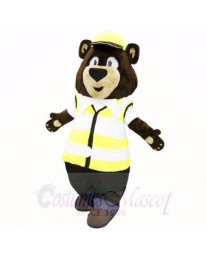 Sunny Bear with Yellow Hat Mascot Costumes Adult