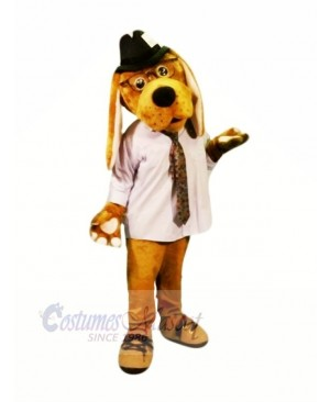 Brown Dog with Glasses Mascot Costumes Cartoon