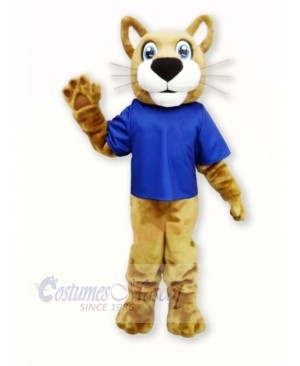 Brown Wildcat with Blue T-shirt Mascot Costumes